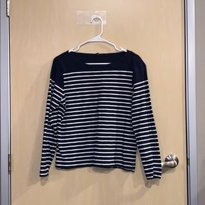 J. Crew Blue and White Striped Long Sleeve Tshirt